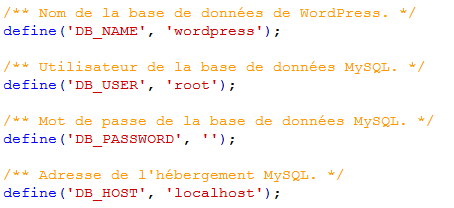 Modification du fichier wp-config-sample.php